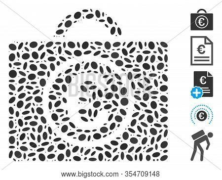 Dotted Mosaic Based On Euro Baggage. Mosaic Vector Euro Baggage Is Created With Random Ellipse Items