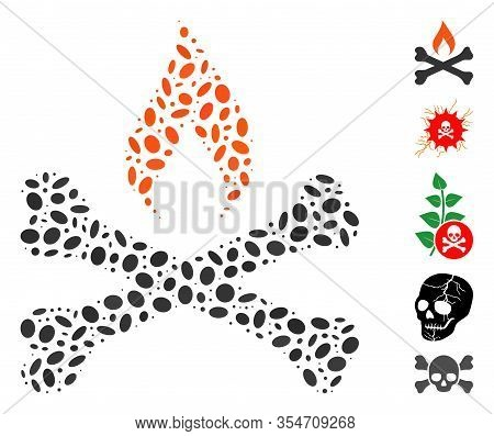 Dotted Mosaic Based On Mortal Ignition. Mosaic Vector Mortal Ignition Is Created With Scattered Oval