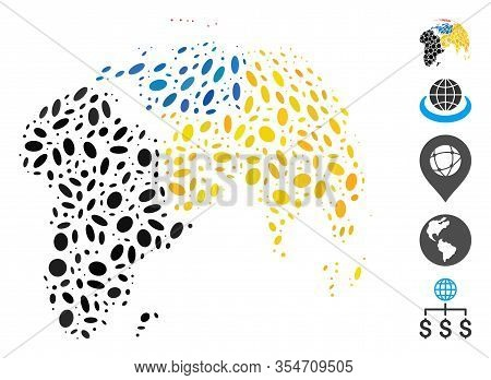 Dotted Mosaic Based On Abstract Globe With Colored Dotted Continents. Mosaic Vector Abstract Globe W