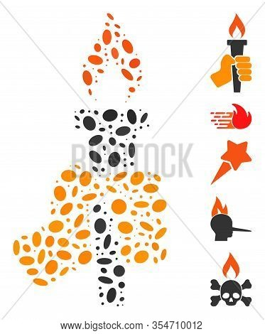Dot Mosaic Based On Hand With Fire Torch. Mosaic Vector Hand With Fire Torch Is Composed With Random