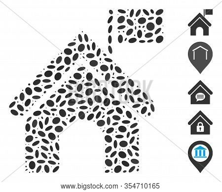 Dotted Mosaic Based On Government Building With Flag. Mosaic Vector Government Building With Flag Is