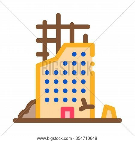Ruined Building Icon Vector. Outline Ruined Building Sign. Color Isolated Contour Symbol Illustratio