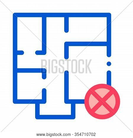 Wrong Plan Icon Vector. Outline Wrong Plan Sign. Color Isolated Contour Symbol Illustration
