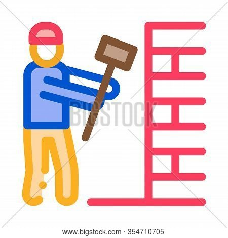 Man Destroy Wall Icon Vector. Outline Man Destroy Wall Sign. Color Isolated Contour Symbol Illustrat
