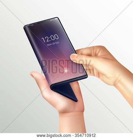 Foldable Smartphone Realistic Composition With Human Hands Hold Folding Phone By The Screen On Gradi