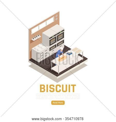 Bakery Confectionery Industrial Kitchen Interior Isometric Composition With Oven Dough Rolling Cakes
