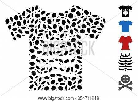 Dotted Mosaic Based On Skeleton T-shirt. Mosaic Vector Skeleton T-shirt Is Created With Scattered Ov
