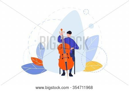 Creative Profession, Hobby, Musician Concept. Man, Boy Musician With Contrabass Playing In Orchestra
