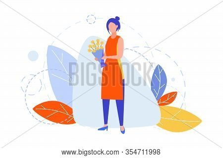 Floristics, Hobby, Creativity, Occupation, Business Concept. Illustration Of Businesswoman Girl Flor