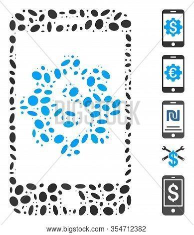 Dotted Mosaic Based On Mobile Bank Setup. Mosaic Vector Mobile Bank Setup Is Designed With Randomize