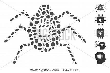 Dot Mosaic Based On Hardware Bug. Mosaic Vector Hardware Bug Is Created With Randomized Elliptic Ite