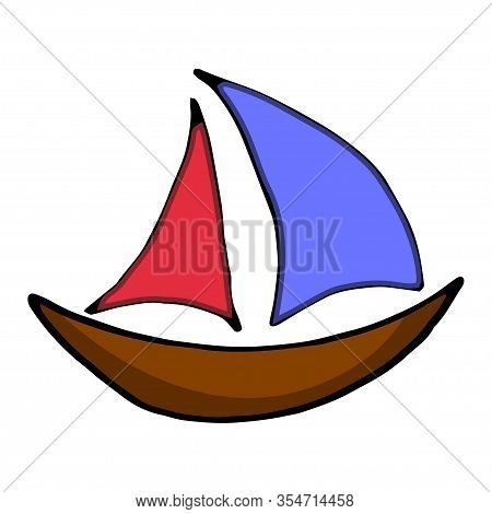 Sailboat Hand Drawn Outline Doodle Icon. Traveling By Boat And Yacht, Water Transport, Vacation Conc
