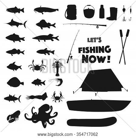 Fishing Sport Equipment, Fish And Sea Animals Black Silhouettes Set. Vector Tent And Boat, Crab, Oct