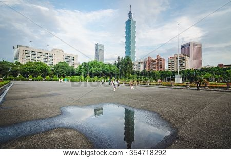 Taipei, Taiwan - May 17, 2019 : Gardens At The National Sun Yat-sen Memorial Hall And Taipei 101, In