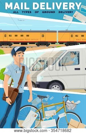 Post Mail Delivery Service, Vector. Fast Courier Postman, Van, Bike And Railway Train Post And Parce