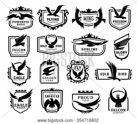 Eagles, Hawks, Kites And Falcons Coat Of Arms Black Silhouettes Icons Set, Vector Wild Flying Birds