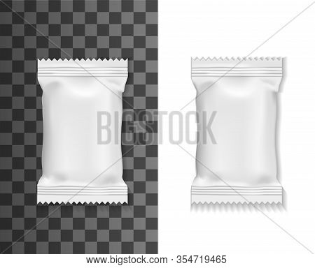White Pack Mockup, Sachet Or Pouch Bag Isolated 3d Vector Realistic Blank Package For Food, Wet Towe