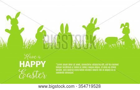 Easter Egg Hunt Bunny Or Rabbit Vector Silhouettes Of Religion Holiday Design. Hare Animals Hunting