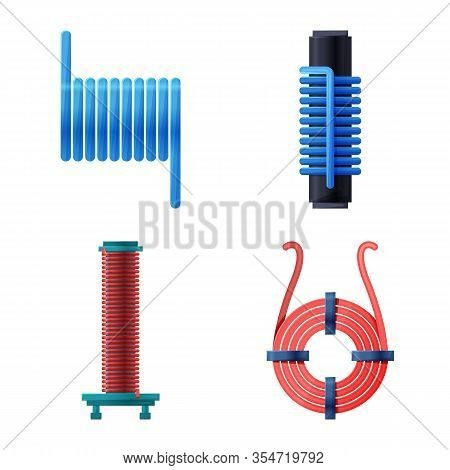 Isolated Object Of Flexible And Spiral Sign. Set Of Flexible And Pressure Stock Vector Illustration.