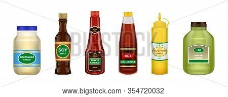 Sauce Of Bottle Vector Illustration Isolated On White Background .realistic Set Icon Sauce For Bbq .