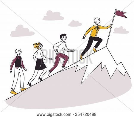 People Running For Leader Uphill, Setting Flag On Top. Business Team Climbing Mountain Peak. Vector