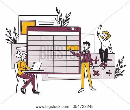 Employees Making Company Bookkeeping Report Vector Illustration. Accountants Making Balance Sheet Wi