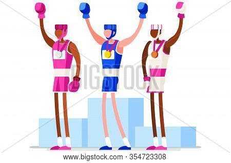 Male Of Person Celebrate Summer Games Athletics Medal. Sportive People Celebrating Boxing Team. Boxe