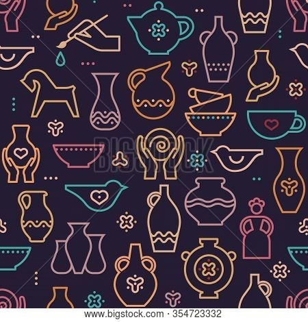 Vector Pottery Seamless Pattern - Ceramics For Art Studio, Design Elements For A Hobby, Masterclass.