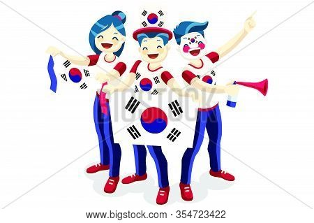 Crowd Of Persons Celebrate National Day Of South Korea With A Flag. Korean People Celebrating A Foot