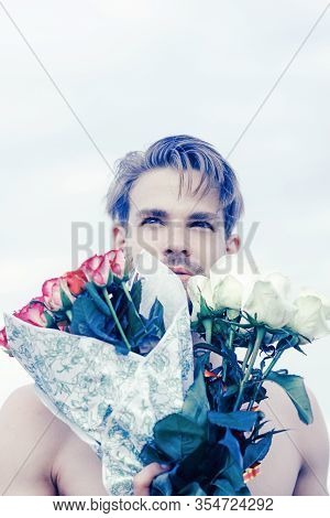 Romantic Man With Rose Bouquet. Valentines Day Present. Gift With Love. Ready For Date. Muscular Mac