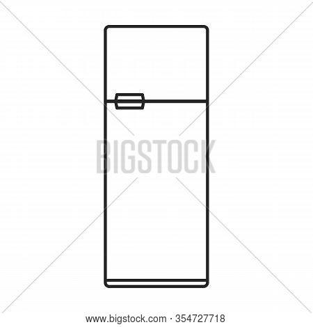 Kitchen Refrigerator Vector Icon.outline Vector Icon Isolated On White Background Kitchen Refrigerat