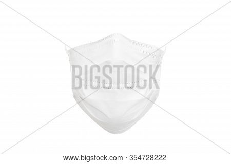 A White Medical Mask In The Form Of A Mask Worn On The Face. Protective Face Mask Isolated On White