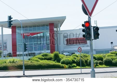 Velbert, Nrw, Germany - May 26, 2018: View Of The Large Furniture Store Rehmann In Velbert. Entrance