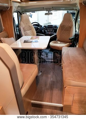 Duesseldorf, Nrw, Germany - August 29, 2018: Interior With A View Of The Cockpit Of A Motor Home On