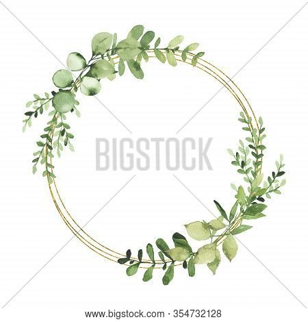Watercolor Gold Geometrical Wreath With Greenery Leaves Branch Twig Plant Herb Flora Isolated On Whi
