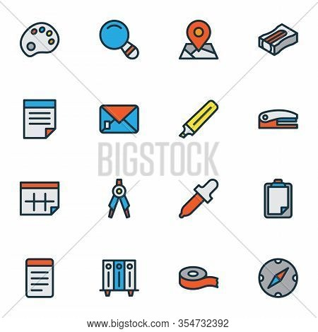 Stationary Icons Colored Line Set With Marker, Notepad, Eyedropper And Other Pipette Elements. Isola