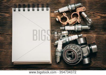 Car Spare Parts List. Auto Service List Template.