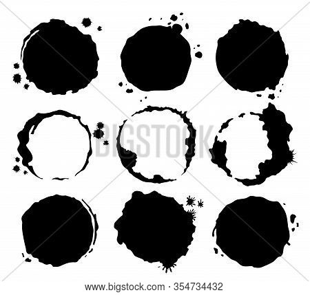 Coffee Black Stains. Dirty Cup Splash Ring Stain Or Coffee Stamp, Dirt Watercolor Latte Or Tea Spots