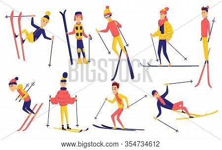 Vector Set Of Skiers. Winter Sportsman In Different Poses On Ski Resort. Men In The Ski Resort. Wint