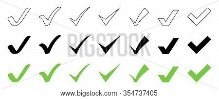 Check Mark Collection. Check Mark Black And Green Vector Icons, Isolated On White Background. Set Of
