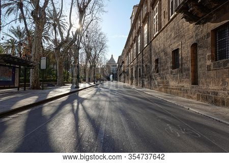 Palermo, Sicily - February 8, 2020: Via Vittorio Emanuele Street At Nice Sunny Weather With Tree Sha