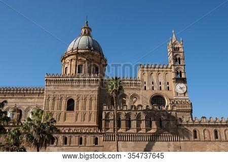 Palermo, Sicily - February 8, 2020: The Bell Tower With Clock And Cupola Of Palermo Cathedral