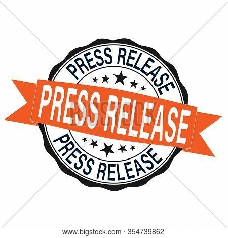 Press Release Round Grunge Ribbon Stamp On A White Background