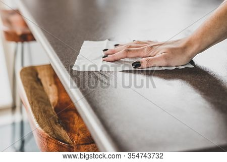 Concept Of Disinfecting Surfaces From Bacteria Or Viruses, Hand Cleaning Bar Table With Disinfectant