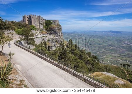 Road To Remains Of Norman Castle Called Venus Castle In Erice, Small Town Located On A Mountain Near