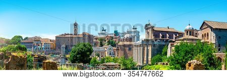 Ancient Ruins Of Forum And Victor Emmanuel Ii Monument In Rome, Italy