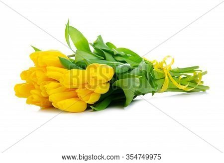 Bouquet Of Yellow Tulips Flower On White Background Isolation