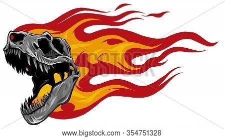 Dinosaur Skull. Drawing Of T-rex Skull Vector