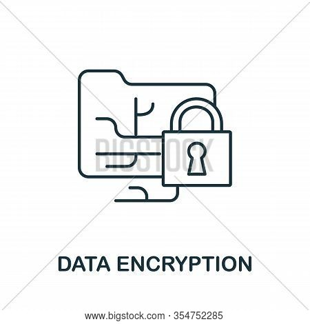 Data Encryption Icon From Cyber Security Collection. Simple Line Data Encryption Icon For Templates,