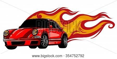 Sports Car Emblem With Fire Flames. Textile Prints, Vinyl Stickers And Decals For Auto.